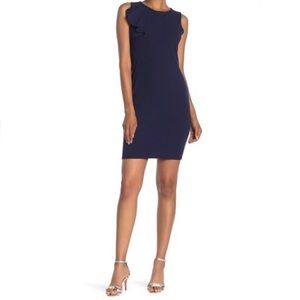 Bebe Sassy Ruffle Bodycon Mini Dress Navy Size 8